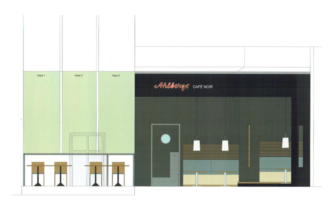 Ombyggnad och inredning café (Utfört inom Tema Arkitekter)