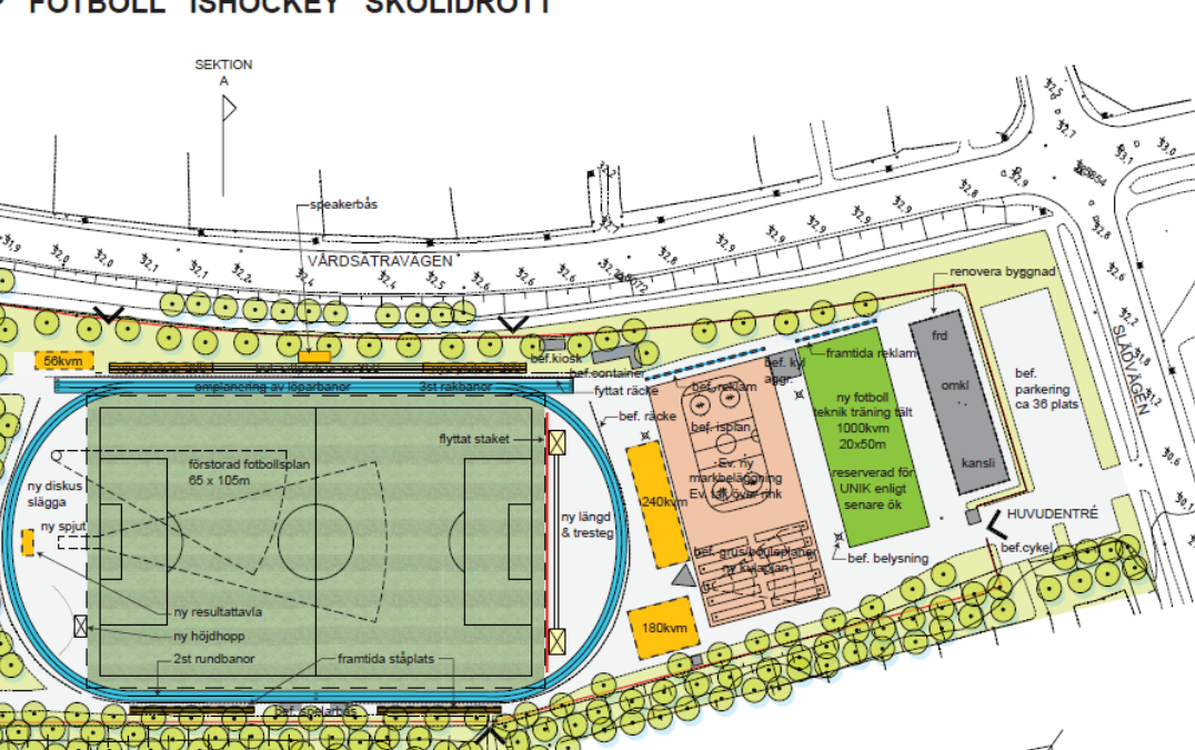 Detaljplaneutredning idrottsanläggning (Utfört inom Tema Arkitekter)
